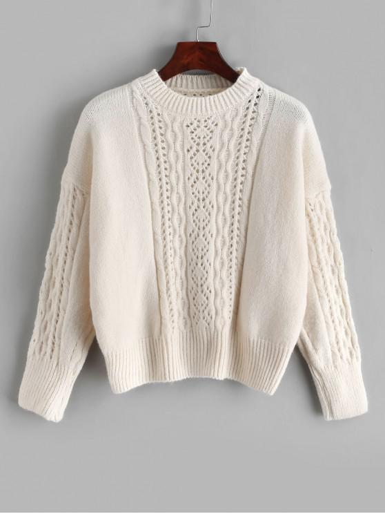 online Open Knit Solid Drop Shoulder Sweater - WHITE ONE SIZE