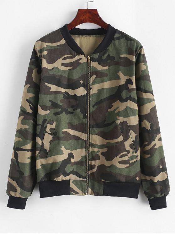 latest Camouflage Zip Up Bomber Jacket - ACU CAMOUFLAGE L