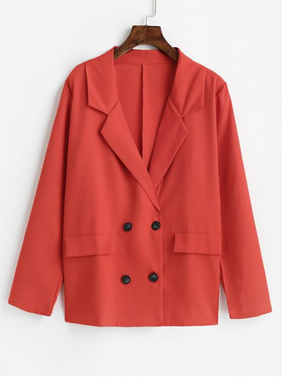 trendy Faux Flap Pockets Solid Double Breasted Blazer - RED XL