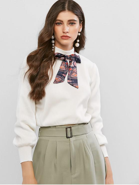 fancy Printed Bow Tie Mock Neck Sweater - WHITE S