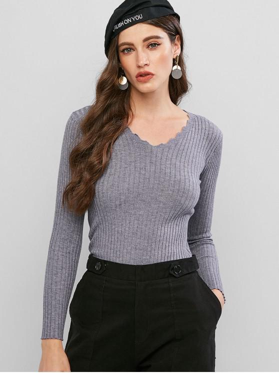 V領修身羅紋毛衣 - 輕的板岩灰色 One Size
