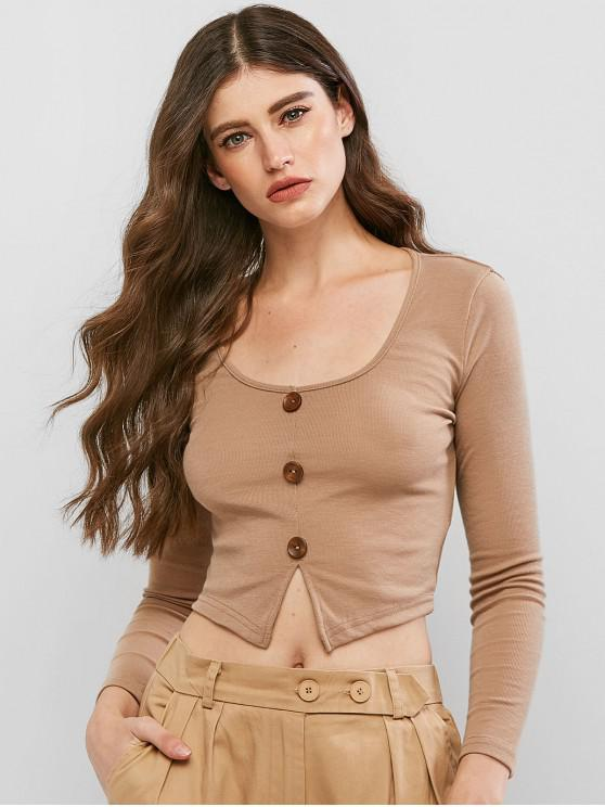unique Button Embellished Slit Crop T-shirt - BROWN M