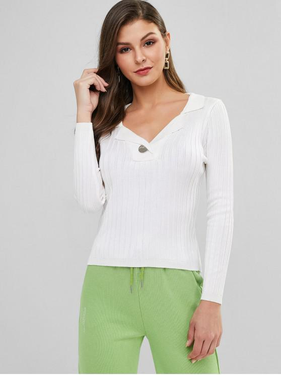 online Turndown Collar Plain Ribbed Slim Sweater - WHITE ONE SIZE