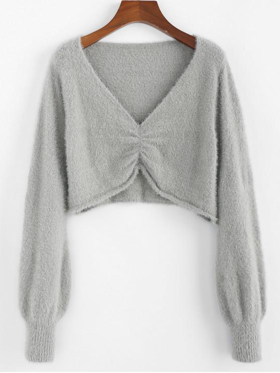 ZAFUL Fuzzy Plonjați Knit Trim roll Crop pulover - Gray Cloud S