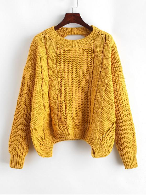 buy Drop Shoulder Cable Knit Cut Out Back Sweater - YELLOW ONE SIZE