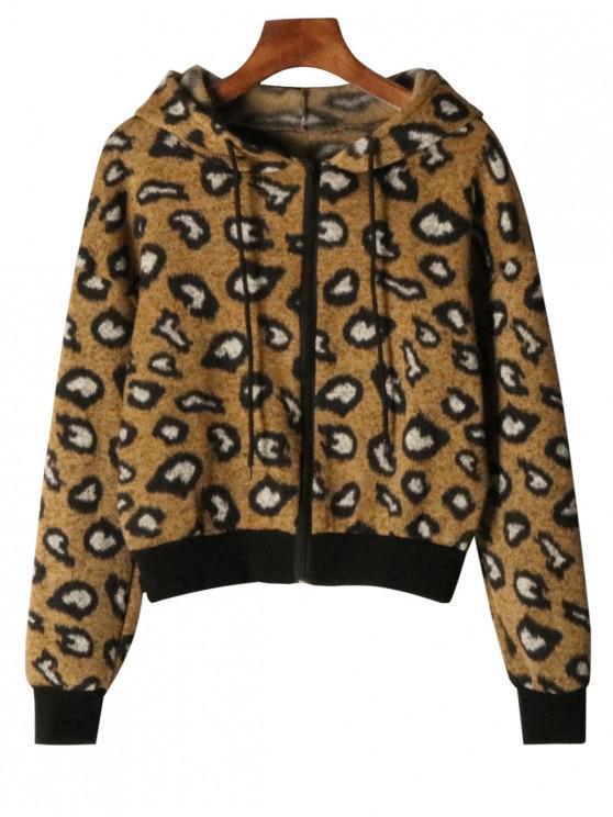 sale Leopard Print Zip Up Hooded Cardigan - LEOPARD S