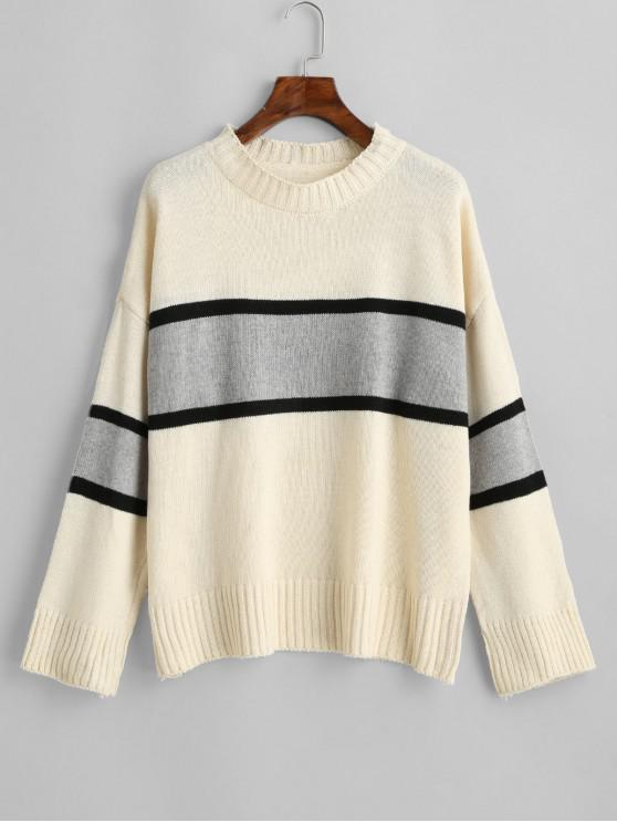 trendy Crew Neck Drop Shoulder Colorblock Jumper Sweater - MULTI-A ONE SIZE