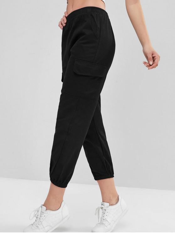 trendy Ninth Mid Rise Flap Pockets Jogger Pants - BLACK L