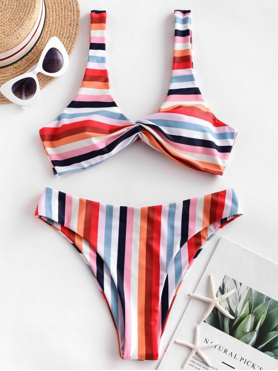 latest ZAFUL Rainbow Twisted High Leg Bikini Swimsuit - MULTI-A L