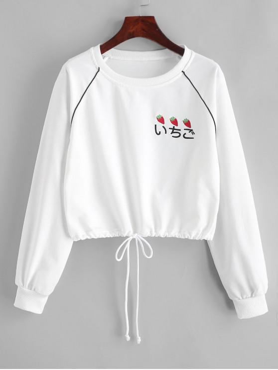 trendy Drawstring Raglan Sleeve Strawberry Embroidered Sweatshirt - WHITE L