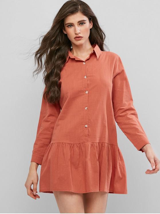 women's Drop Waist Shirt Dress - ORANGE S