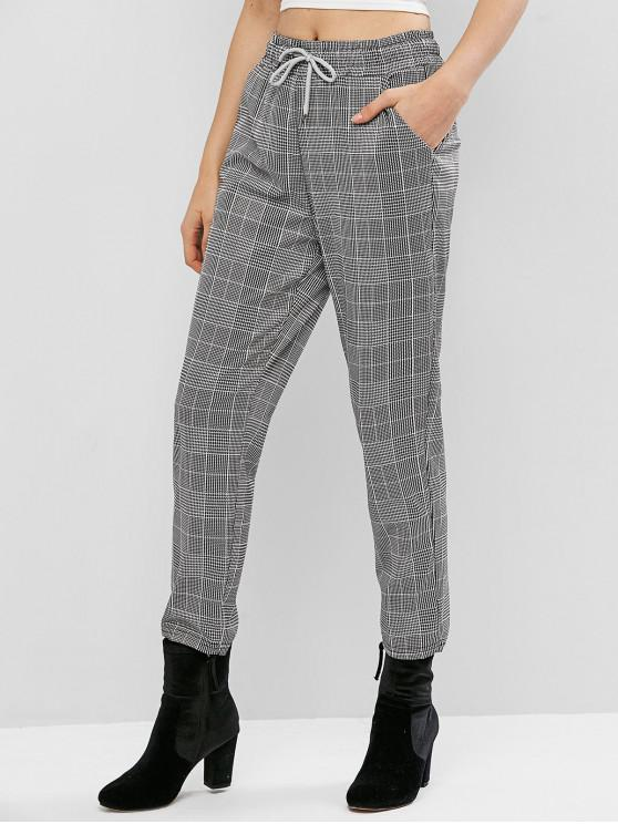 hot Drawstring Plaid Pencil Pants - MULTI-A M