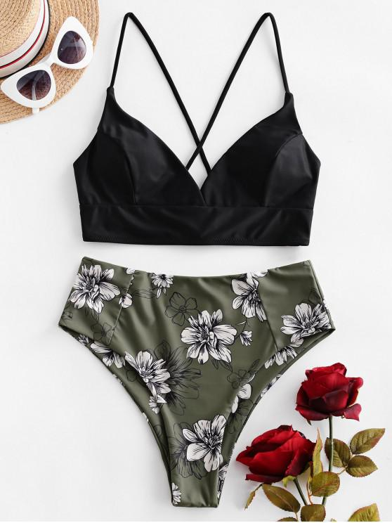 shops ZAFUL Floral Crisscross High Waisted Bikini Swimsuit - CAMOUFLAGE GREEN XL