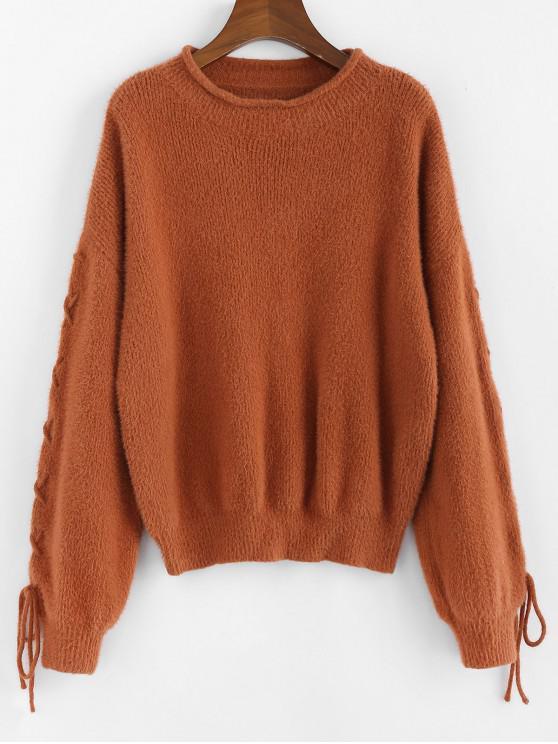 chic ZAFUL Lace Up Drop Shoulder Furry Sweater - CARAMEL M