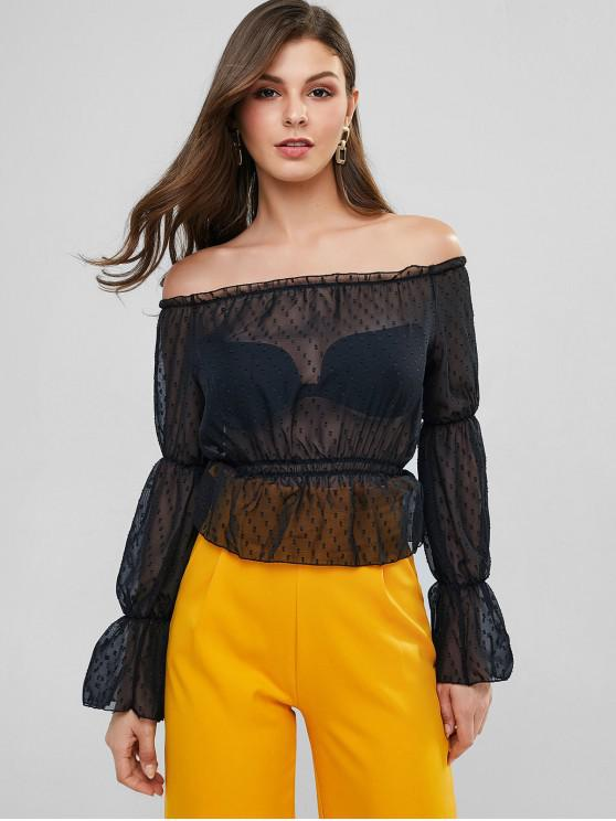 womens Off Shoulder Swiss Dot See Thru Ruffle Cuff Blouse - BLACK M
