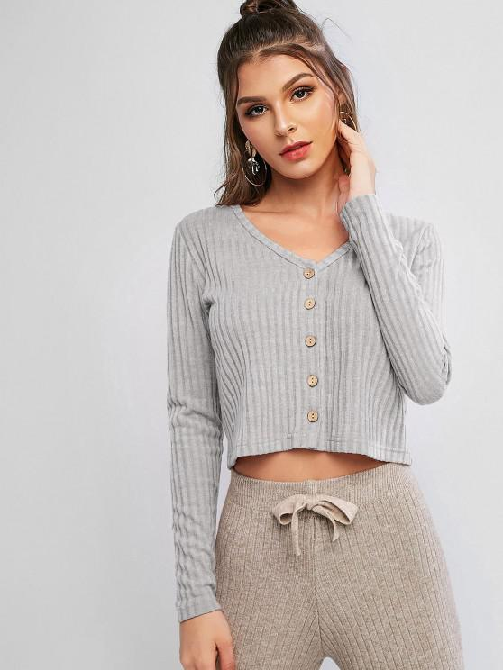 best Solid Ribbed Button Up Cardigan - GRAY CLOUD L