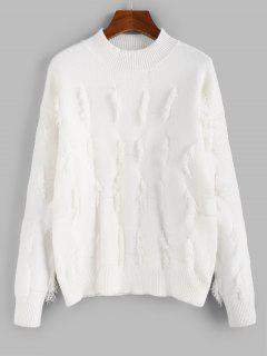 ZAFUL Frayed Detail Mock Neck Drop Shoulder Sweater - Crystal Cream S