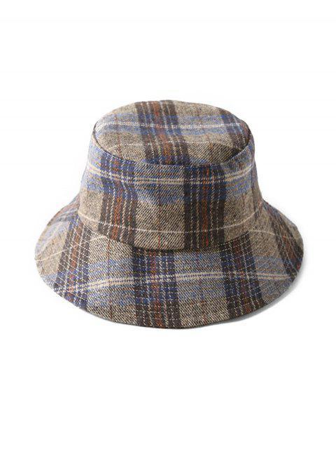 fashion Grid Winter Bucket Hat - COFFEE  Mobile