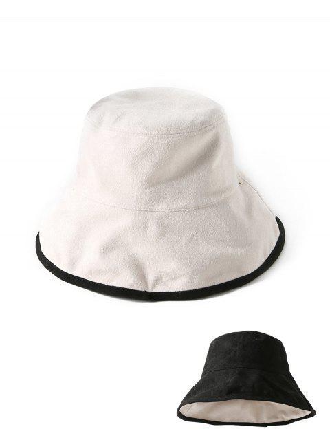 Chapeau Seau d'Hiver en Couleur Unie à Double Face en Daim en Tissu - Noir  Mobile