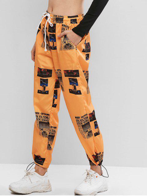 Pantalones de chándal rompevientos estampados de tiro medio - Amarilla de Abeja  M Mobile