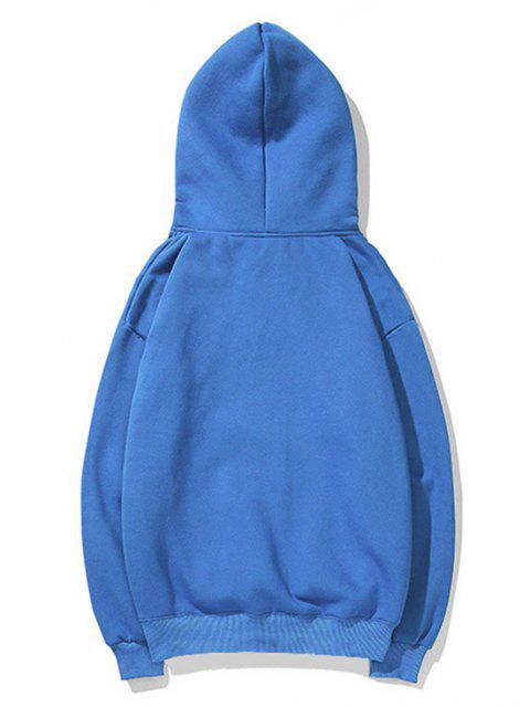 貓圖案打印連帽衫 - 道奇藍 L Mobile