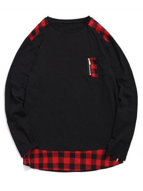 A cuadros de impresión de la cremallera de la decoración camiseta ocasional - Rojo 3XL Mobile