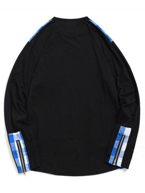 格紋打印拉鍊裝飾休閒T卹 - 藍莓藍 2XL Mobile