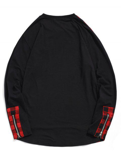A cuadros de impresión de la cremallera de la decoración camiseta ocasional - Rojo 2XL Mobile