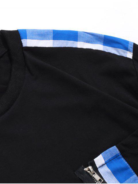 A cuadros de impresión de la cremallera de la decoración camiseta ocasional - Azul de Arándanos L Mobile