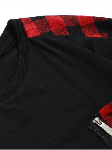 A cuadros de impresión de la cremallera de la decoración camiseta ocasional - Rojo L Mobile