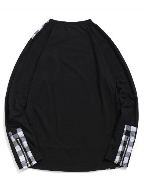 A cuadros de impresión de la cremallera de la decoración camiseta ocasional - Negro XL Mobile