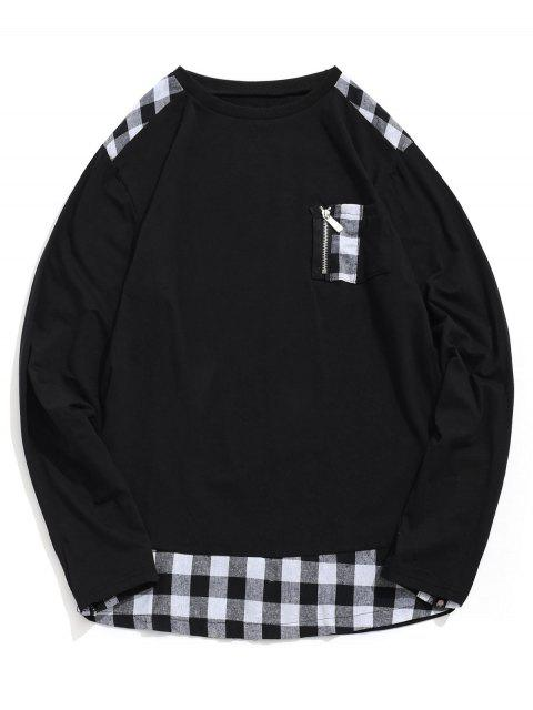 A cuadros de impresión de la cremallera de la decoración camiseta ocasional - Negro L Mobile