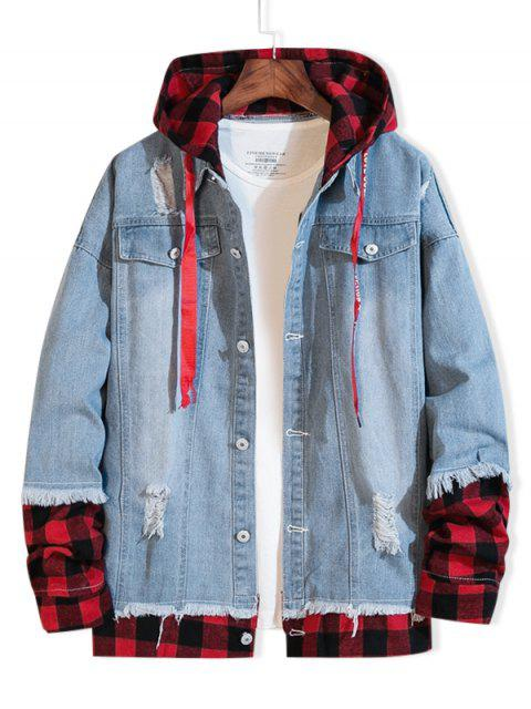 sale Distressed Plaid Splicing Ripped Hooded Jean Jacket - LIGHT BLUE 3XL Mobile