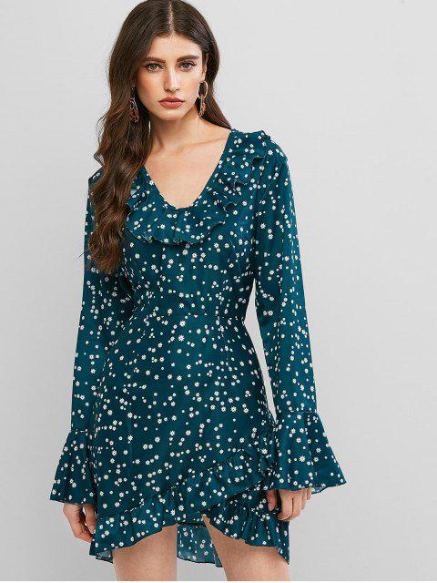 hot Ruffle Trumpet Sleeve Ditsy Print Dress - GREENISH BLUE S Mobile