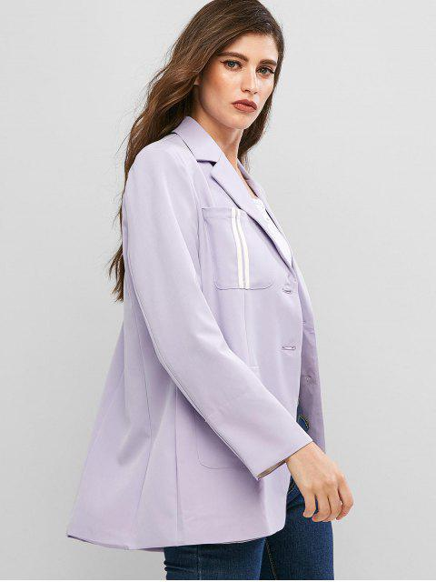 shop Striped Pockets Button Up Lapel Blazer - LAVENDER BLUE L Mobile