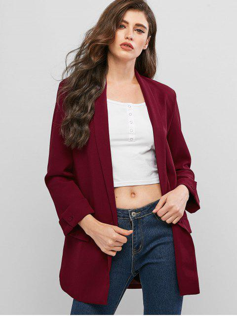 latest One Button Shawl Collar Solid Blazer - RED WINE M Mobile