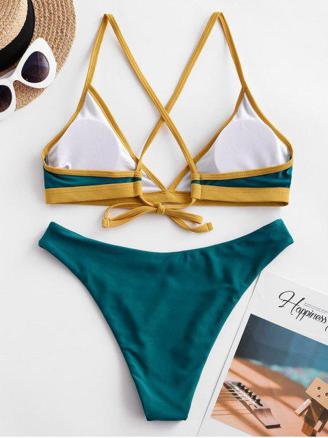 ZAFUL Maillot de Bain Bikini Contrasté Croisé à Jambe Haute - Paon Bleu S Mobile