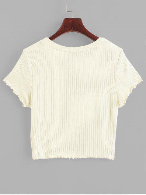 ZAFUL T-shirt Court Côtelé Tricoté à Ourlet en Laitue - Beige S Mobile