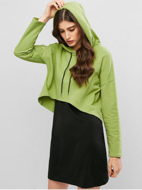 shop Drop Shoulder High Low Hoodie with Mini Tank Dress - GREEN S Mobile