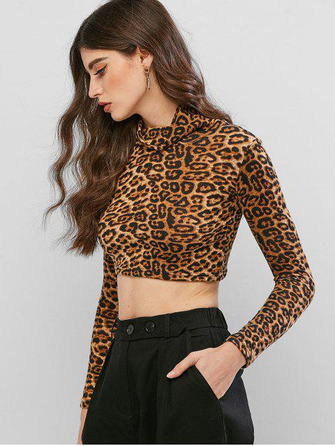 chic Cropped Cowl Neck Leopard Print Tee - MULTI-B XL Mobile