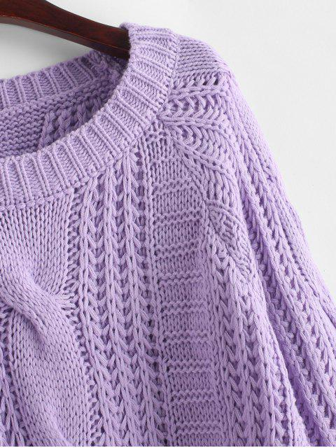 latest Cable Knit Solid Color Chunky Sweater - PURPLE M Mobile
