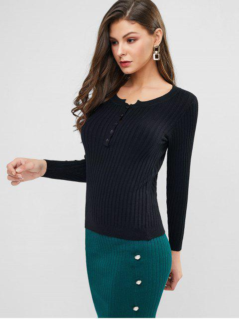 latest Half Placket Ribbed Slim Knit Sweater - BLACK ONE SIZE Mobile