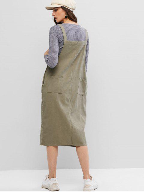 Cremallera frontal Bolsillo vestido del delantal - Verde Camuflaje L Mobile