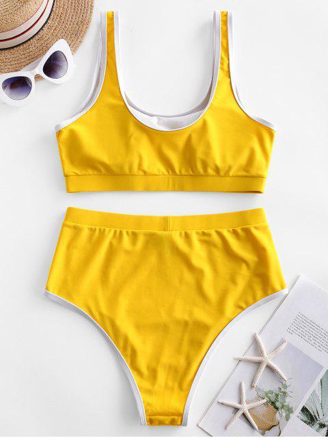 Contraste ZAFUL tuberías de talle alto con relleno de Tankini del traje de baño - Marrón Dorado XL Mobile
