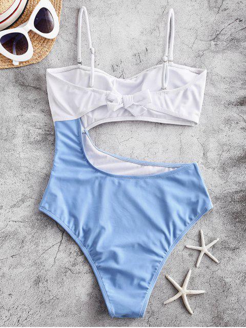 hot ZAFUL Colorblock Tie Back Cami Monokini Swimsuit - DODGER BLUE M Mobile