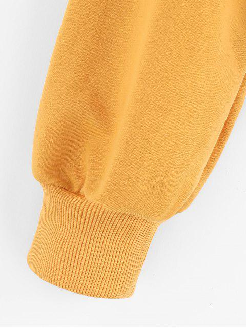 ZAFUL gota hombro Peplum con capucha - Amarilla de Abeja  M Mobile