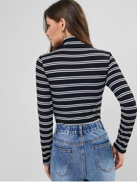 trendy Mock Neck Contrast Stripes Ribbed Bodysuit - BLACK S Mobile
