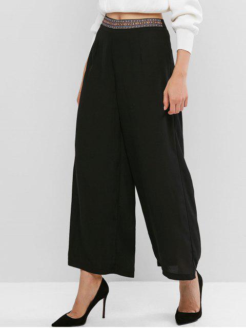 Étnicos de la pretina de la gasa de pierna ancha pantalones Palazzo - Negro M Mobile