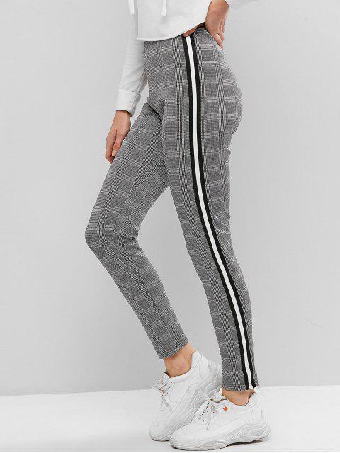 A cuadros de cinta de rayas Pantalones pitillo - Negro M Mobile
