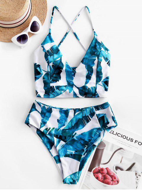 ZAFUL hoja de palma con cordones tropical Tankini del traje de baño - Blanco S Mobile